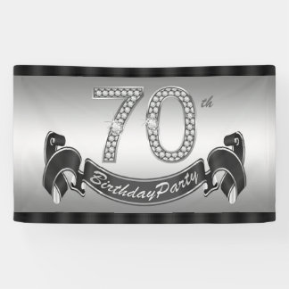 Silver 70th Birthday Party Banner