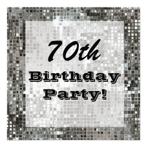 Silver 70th Or Any Age Birthday Party Invitation