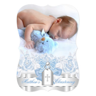 Silver and Baby Blue Photo Christening Card
