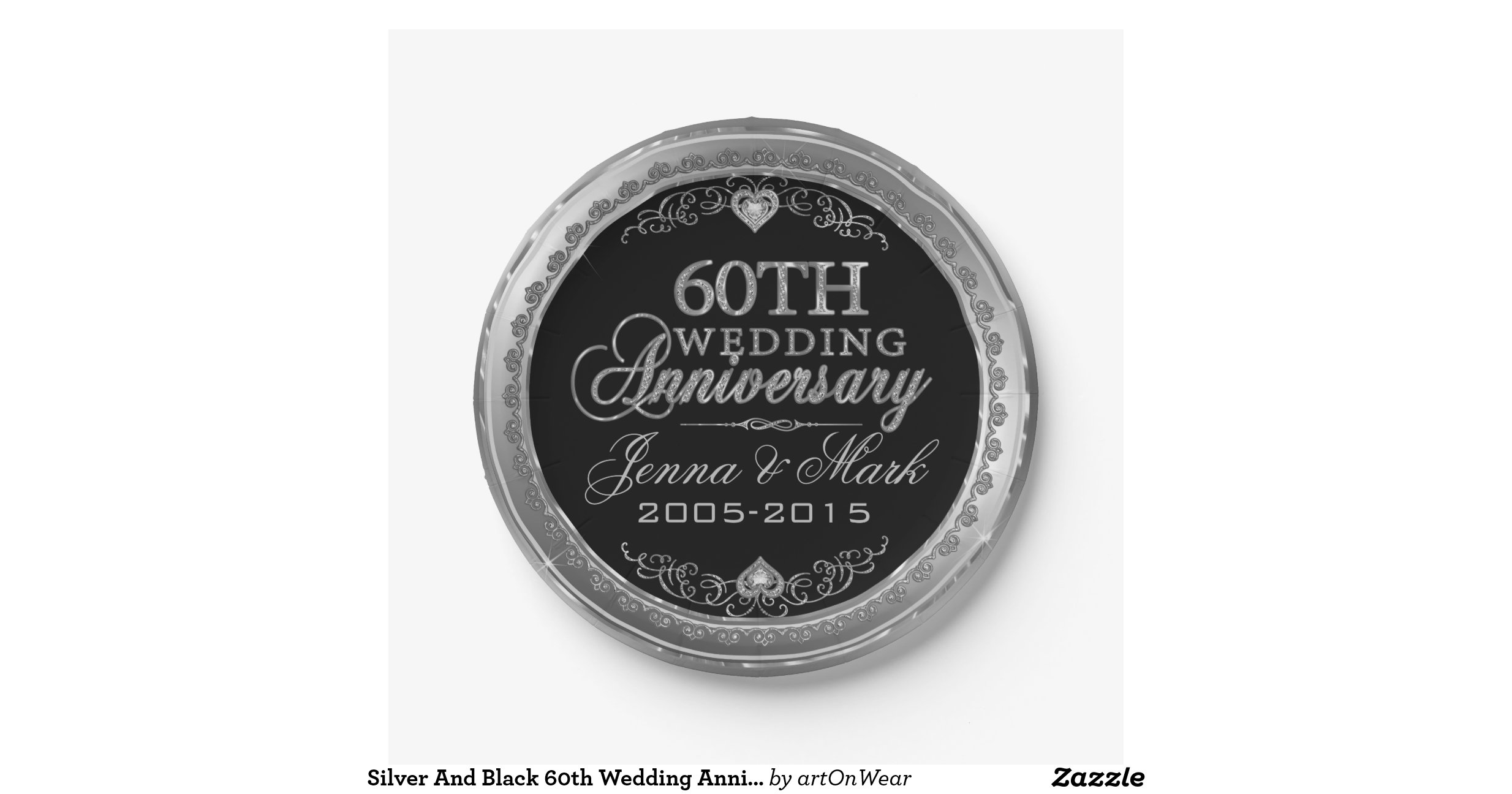 Silver And Black 60th Wedding Anniversary 7 Inch Paper Plate Zazzle