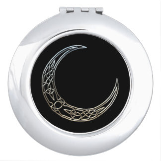 Silver And Black Celtic Crescent Moon Compact Mirror