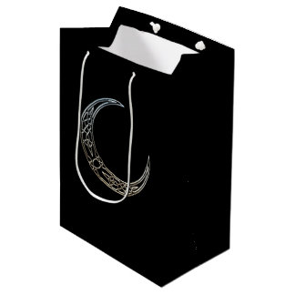 Silver And Black Celtic Crescent Moon Medium Gift Bag