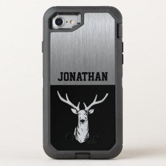 Silver and Black Deer Hunting Monogram OtterBox Defender iPhone 8/7 Case