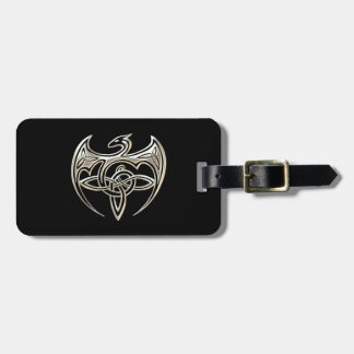 Silver And Black Dragon Trine Celtic Knots Art Bag Tag