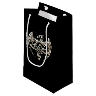 Silver And Black Dragon Trine Celtic Knots Art Small Gift Bag