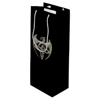 Silver And Black Dragon Trine Celtic Knots Art Wine Gift Bag