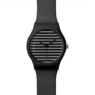 Silver and Black Stripes Watch