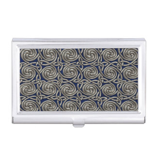 Silver And Blue Celtic Spiral Knots Pattern Business Card Holder