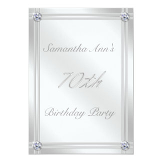 Silver and Diamond Effect 70th Birthday Party Card