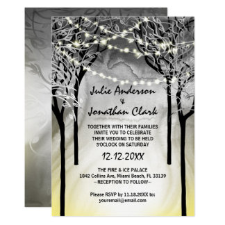 Silver and Gold Fire and Ice Wedding Invitations