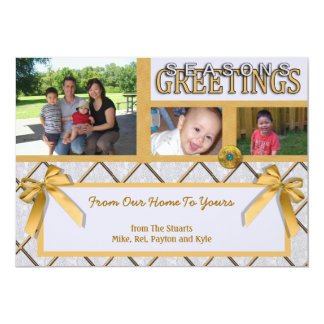 Silver And Gold Three Photo Seasons Greetings Card