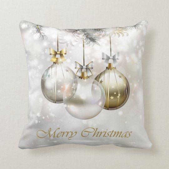Silver and Golden Christmas Balls & Bows Cushion