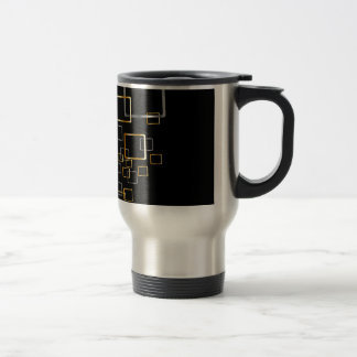 silver and golden rectangles background travel mug