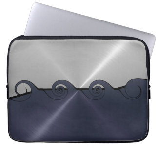 Silver and Gray Stainless Steel Metal Swirl 2 Laptop Sleeve