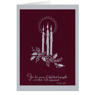 Silver and Maroon Candles and Christmas Verse Card