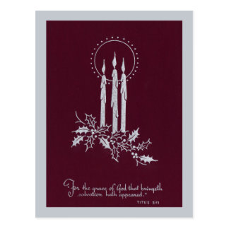 Silver and Maroon Candles and Christmas Verse Postcard