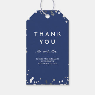 Silver and Navy Confetti Elegant Wedding