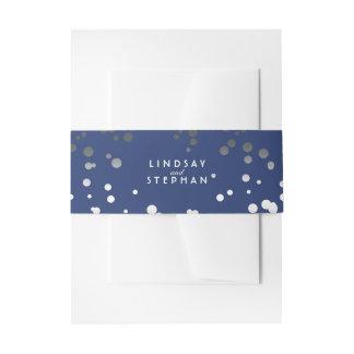 Silver and Navy Elegant Confetti Dots Wedding Invitation Belly Band