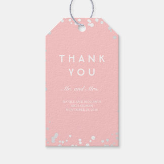 Silver and Pink Confetti Elegant Wedding