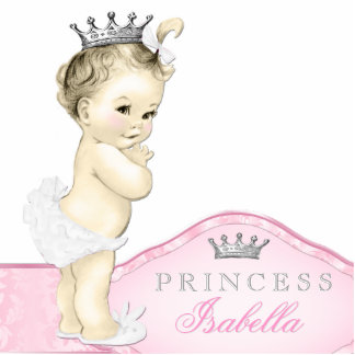 Silver and Pink Princess Baby Girl Standing Photo Sculpture