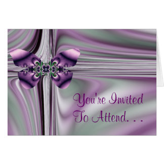 Silver and Purple Butterfly Invitation Greeting Cards