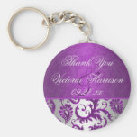 Silver and Purple Damask II Wedding Favour Keychains