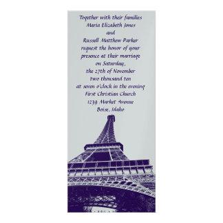 Silver and Purple Eiffel Tower Wedding Invitations