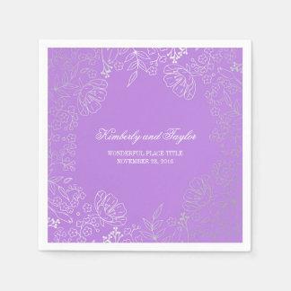 Silver and Purple Floral Vintage Wedding Disposable Serviette