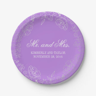 Silver and Purple Floral Wreath Vintage Wedding 7 Inch Paper Plate
