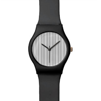 Silver and White Stripes Watch