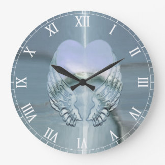 Silver Angel Wings Wrapped Around a Heart Large Clock