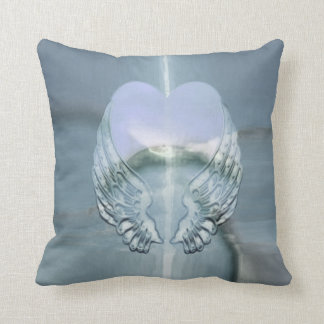 Silver Angel Wings Wrapped Around a Heart Throw Pillow