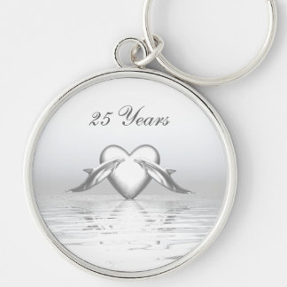Silver Anniversary Dolphins and Heart Silver-Colored Round Key Ring