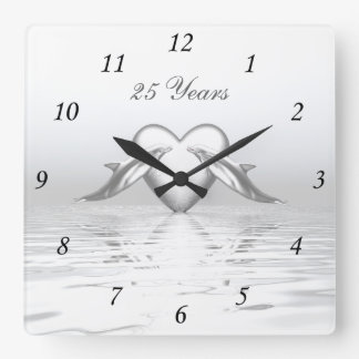Silver Anniversary Dolphins and Heart Square Wall Clock