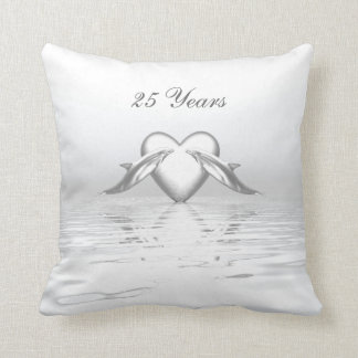 Silver Anniversary Dolphins and Heart Throw Pillow
