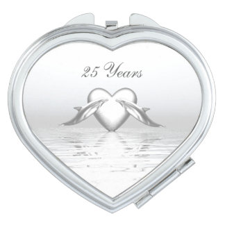 Silver Anniversary Dolphins and Heart Travel Mirror