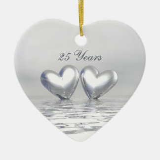 Silver Anniversary Hearts Christmas Ornament