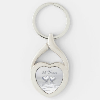 Silver Anniversary Hearts Keychains