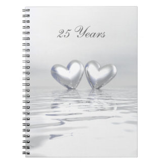 Silver Anniversary Hearts Notebook