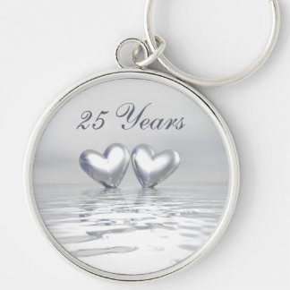 Silver Anniversary Hearts Silver-Colored Round Key Ring