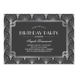 Silver Art Deco Birthday Party Card