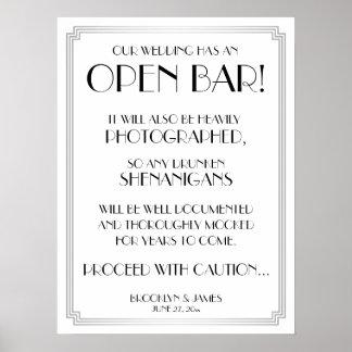 Silver Art Deco Gatsby Open Bar Sign 18x24 Poster