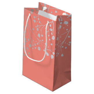 Silver Baby's Breath Elegant Coral Wedding Small Gift Bag