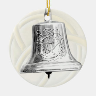 Silver Bell with Pentacle & Wreath Christmas Ornament