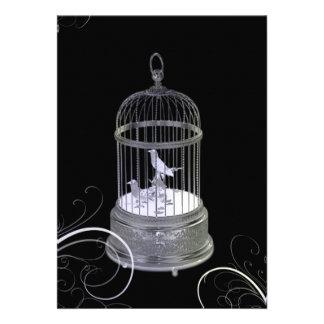 Silver Birds Art Deco Wedding Invitation