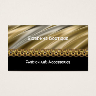Silver, black & gold chain business card