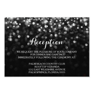 Silver Black Hollywood Glitz Glam Reception Card
