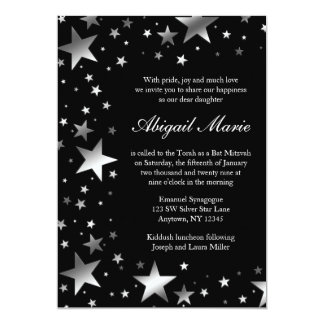 Silver Black Stars Bat Mitzvah 13 Cm X 18 Cm Invitation Card
