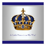 Silver Blue Crown Prince Baby Boy Shower Announcement