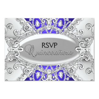 Silver & Blue Diamond Damask Quinceanera RSVP Card